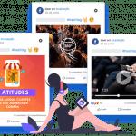 Imagem mostra três posts reais do Facebook da mLabs: um com vídeo, um com foto e outro com imagem 360 graus