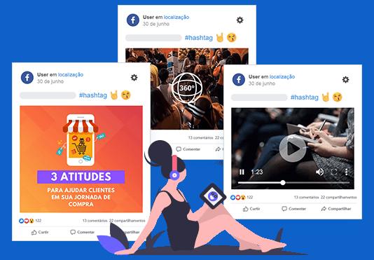 Imagem mostra três posts reais do Facebook da mLabs: um com vídeo, um com foto e outro com imagem 360 graus.