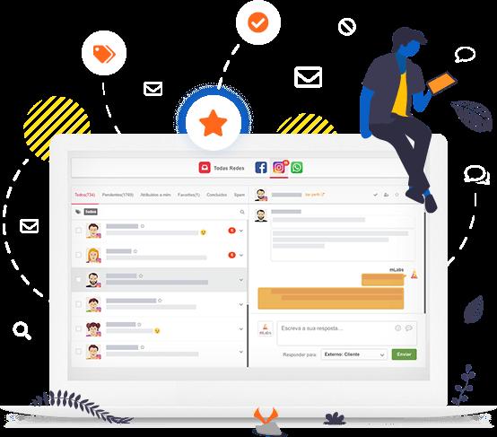 Tela do Inbox da mLabs, funcionalidade que permite responder o Direct do Instagram pelo pc, cercada por ícones e ilustrações que representam: tags, favoritos, mensagens respondidas, etc.