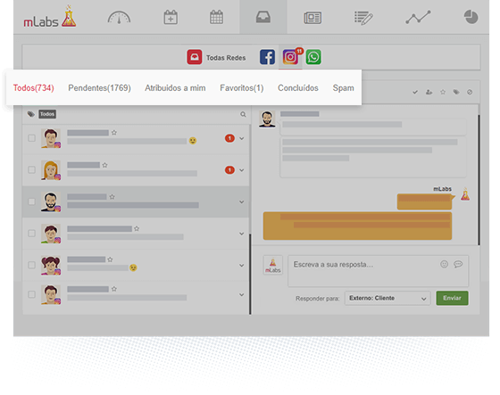 Tela do Inbox da mLabs, com zoom nos filtros de mensagens pendentes, favoritas, concluídas e spams.