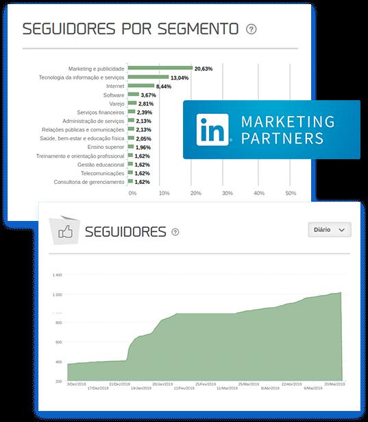 Imagem mostra gráfico da mLabs de seguidores por segmento, do LinkedIn.