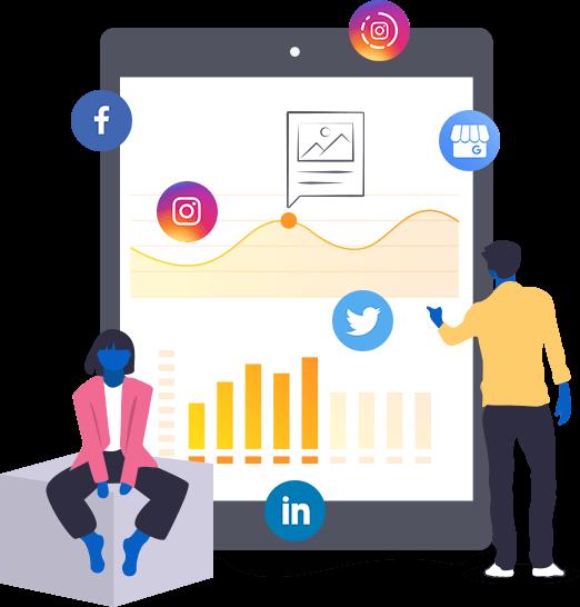 Ilustração com o símbolo de likes, mensagens diretas, reactions, ícones das redes sociais.