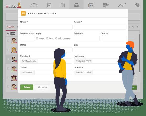 Tela do formulário para envio de leads a partir do inbox da mLabs para o RD Station. Campos presentes: nome, e-mail, data de nascimento, gênero, telefone, cargo, site, perfis nas redes sociais.