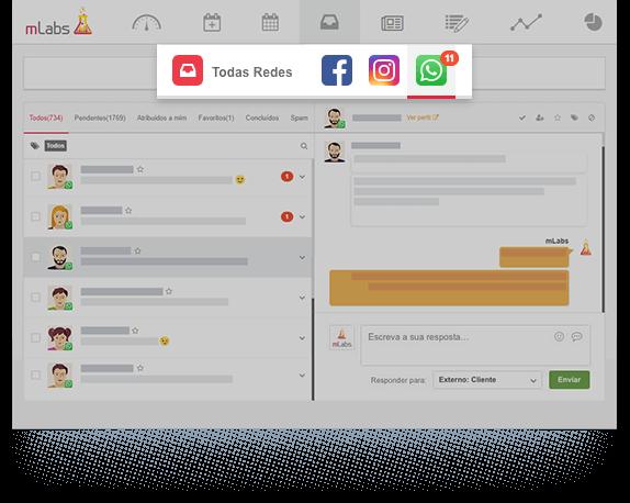 Imagem mostra tela do inbox da mLabs, dando destaque para os logos do whatsapp, facebook e instagram.