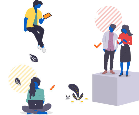 Imagem traz ilustração com ícones que representam as funcionalidades do workflow da mLabs: aprovar posts, pedir ajustes, criar demandas, etc.