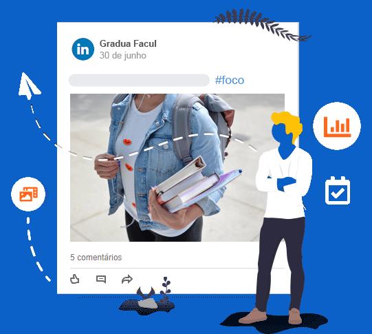 Imagem de um post no LinkedIn com ícones de: métricas, agendamento, agendamento com foto e vídeo, etc.