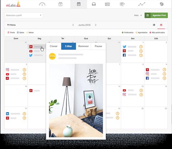 Tela do Calendário de Posts da mLabs mostrando a prévia de um pin agendado, com destaque para os botões de Clonar, Editar, Remover e Pausar.