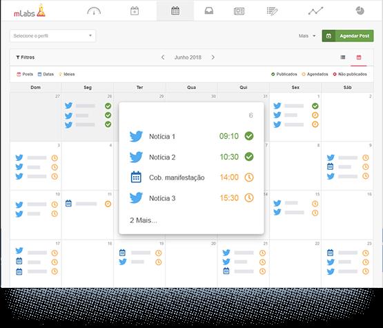 Tela mostra o calendário da mLabs com destaque para Tweets agendados, postado e ideia salva.