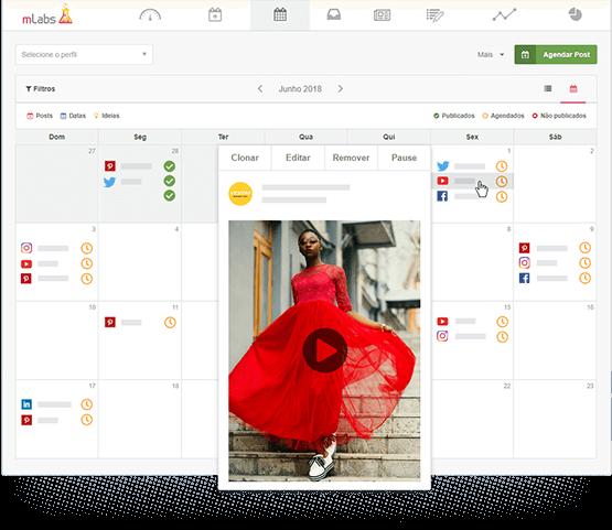 Tela do calendário da mLabs mostra a prévia de um agendamento para o YouTube.