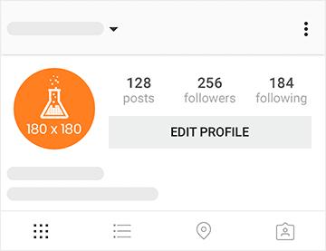 Imagem mostra template da foto de perfil no Instagram