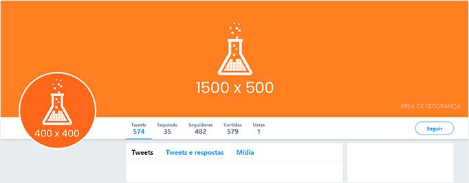 Imagem mostra um template com as medidas da capa do perfil no Twitter.