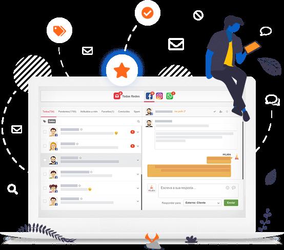 Imagem mostra a tela funcionalidade Inbox, da mLabs, destacando ícones de tag, favorito, mensagens e conversas.