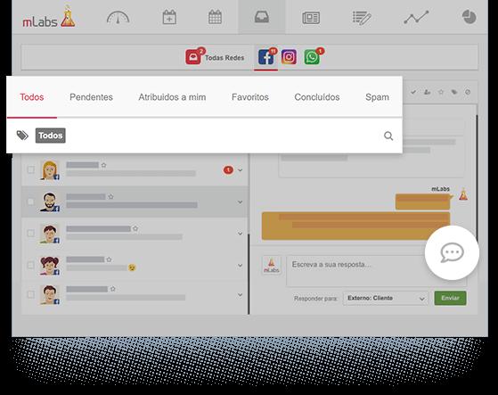 Imagem mostra a tela do Inbox, destacando os recursos de taguear conversas, banco de respostas e filtro de conversas.
