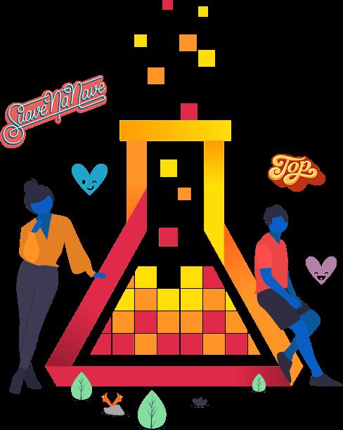 Imagem mostra o logo da mLabs grande, com duas pessoas recostadas nele e os stickers 'suavenanave' e 'top' em volta.