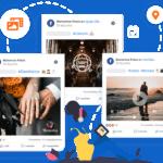 Imagem mostra três tipos de posts no facebook: 360 graus, foto e vídeo. Em volta dos posts, ícones de recursos da mLabs como: postar foto e vídeo, localização, agendamento.