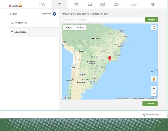 Imagem mostra tela de configurações do agendamento para facebook. Em destaque, mapa para inserção de localização no post.