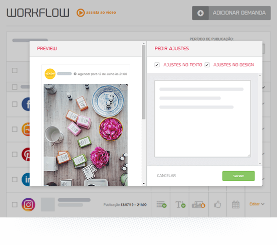 Tela do workflow da mLabs mostra botão de adicionar pessoas à uma demanda.
