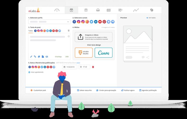 Imagem mostra a tela de agendamento de posts da mLabs, com destaque para os botões de integração com o Canva e o Studio mLabs