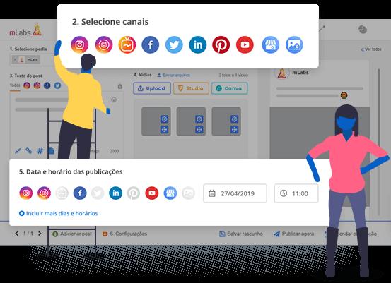 Imagem mostra a tela de agendamento de posts da mLabs com destaque para as redes sociais integradas à plataforma e campo para definir data e horário para o agendamento.