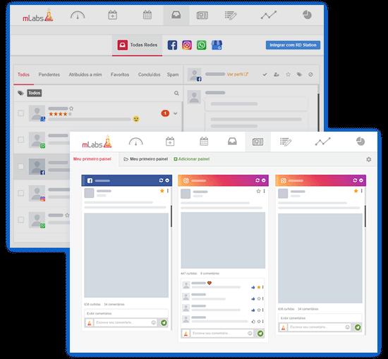 Imagem mostra telas de duas funcionalidades da mLabs: o inbox, que permite responder mensagens privadas e fazer SAC social e o feed, que permite interagir com seguidores através de comentários e likes.