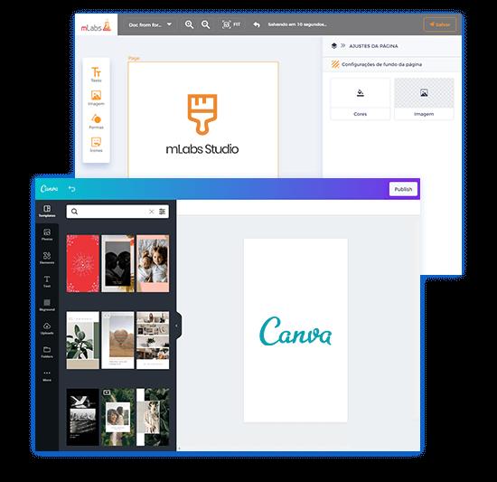 Imagem mostra integração do Canva com a mLabs e a tela do mLabs Studio