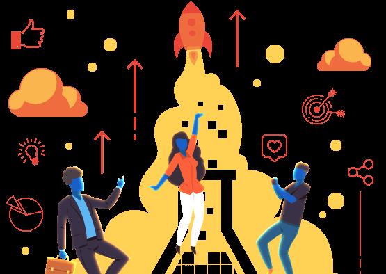 Ilustração mostra três profissionais apontando para o alto, sob o ícone da mLabs. Em volta, ícones que representam alcance de resultados e sucesso, como: alvo, foguete, likes, gráficos, etc.