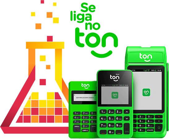 Imagem mostra o logo da mLabs ao lado das maquininhas de cartão de crédito da Ton. Acima, logo da Ton.