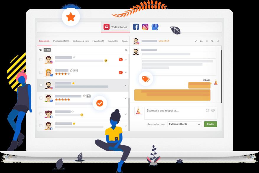 Tela do Inbox, a funcionalidade da mLabs que permite responder mensagem privada do Instagram, WhatsApp e Facebook.