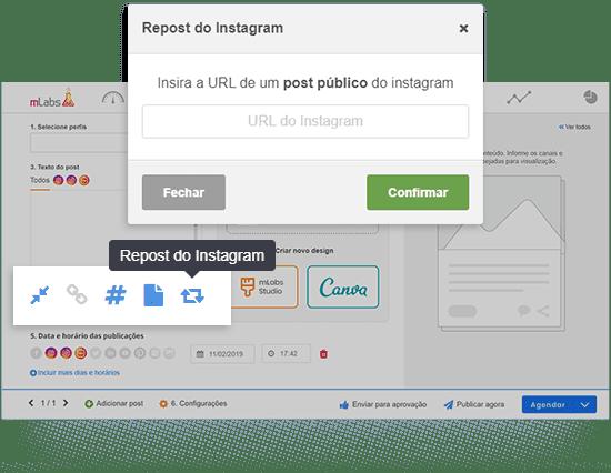 Imagem da tela de agendamento da mLabs mostrando botão de repost do Instagram e caixa para inclusão da URL do post que será republicado.