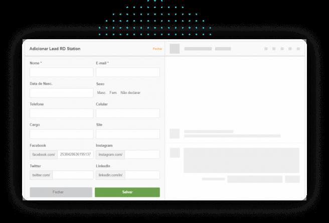 formulário para cadastro de leads dentro da mLabs