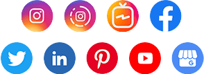 Logo de Mídias Sociais: facebook, instagram (stories, igtv), pinterest, linkedin, youtube, twitter e google my business.