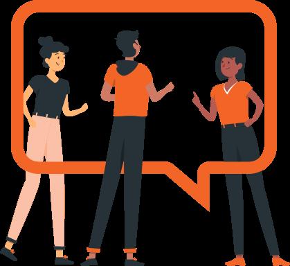 Ilustração de 3 pessoas, uma conversando com a outra, e um icone de 'chat' entre elas.
