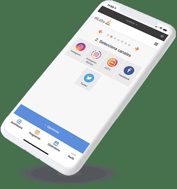Smartphone con pantalla de inicio de APP