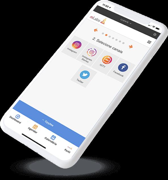 Smartphone com a tela inicial do APP