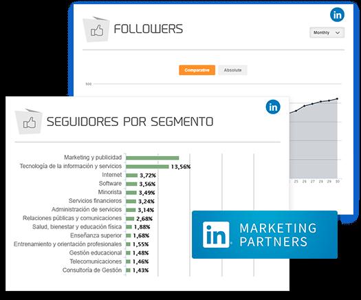 La imagen muestra el gráfico de mLabs de seguidores por segmento, de LinkedIn