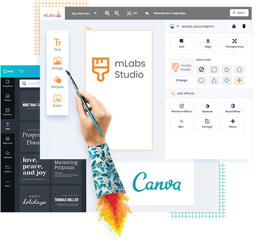 mLabs Studio and Canva screen editing art to schedule publishing