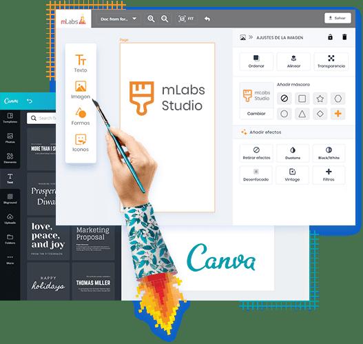 MLabs Studio y Canva arte pantalla de edición de la publicación horario