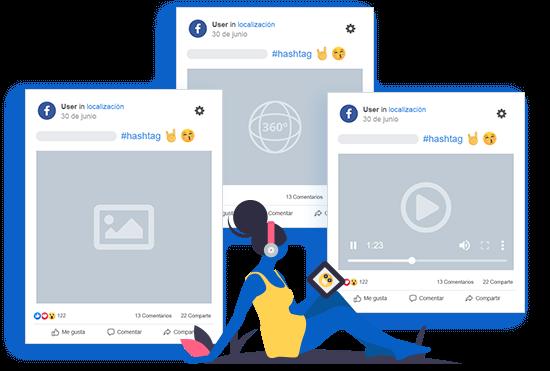 La imagen muestra tres publicaciones reales de Facebook de mLabs: una con video, otra con foto y otra con imagen de 360 grados