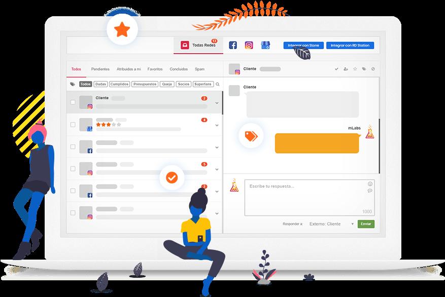 Pantalla de bandeja de entrada, funcionalidad mLabs que le permite responder a un mensaje privado de Instagram, WhatsApp y Facebook.