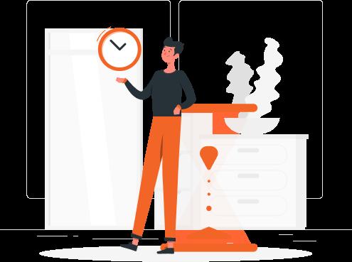 Imagem mostra ilustração com personagem segurando um relógio.