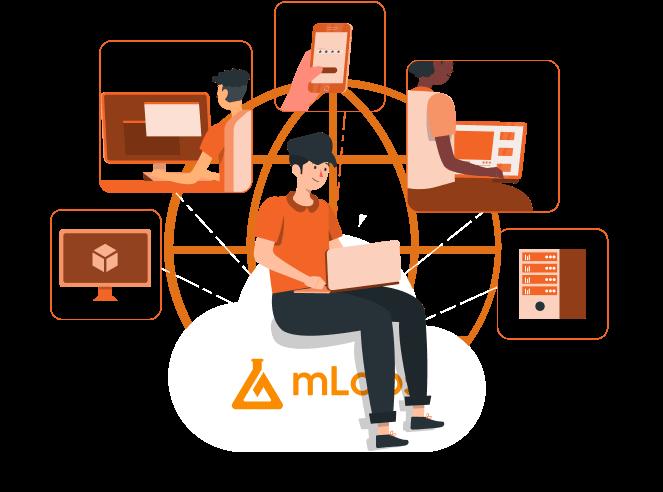 Imagem traz ilustração personagem trabalhando no computador sentado sobre um balão com o logo da mLabs e, em volta dele, outras pessoas trabalhando em diferentes dispositivos e funções.