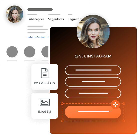 Imagem mostra uma página de link na bio criada com o mLabs pages com ícones que representam algumas possibilidades de customização da ferramenta. Os ícones são de inserção de formulário e imagem
