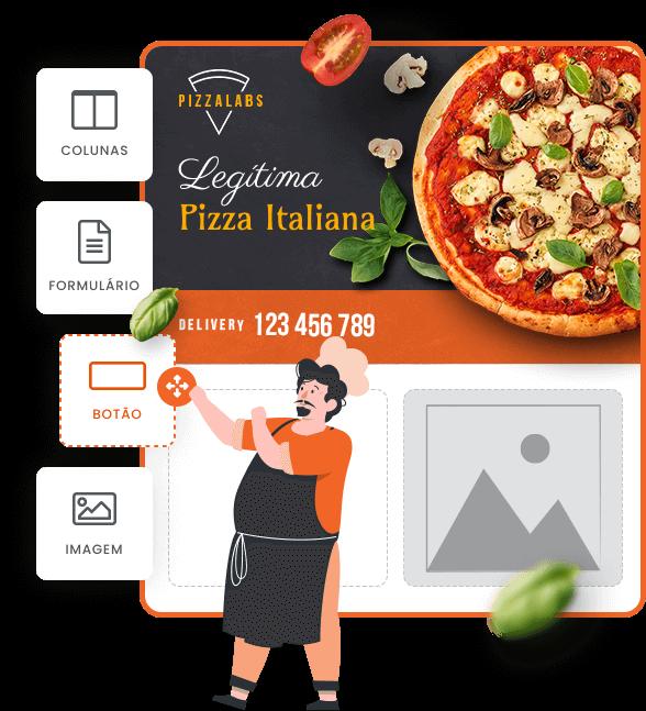 Imagem mostra Página de uma pizzaria fictícia sendo customizada dentro do mLabs Pages. Sob a imagem aparecem os ícones para inserção de colunas, formulário, botão e imagem