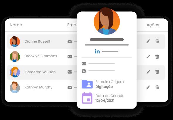 Imagem mostra lista de contatos dentro mLabs pages ao fundo e, sobrepondo a lista, um card com destaque para as informações de um contato fictício da lista