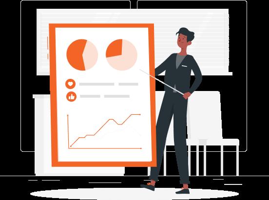 Imagem mostra personagem ilustrado apontando para gráficos de pizza e linha representando relatórios da mLabs