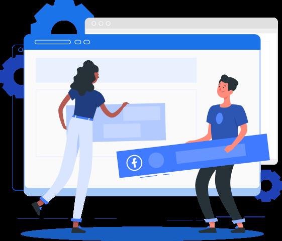 Imagem mostra personagens ilustrados construindo um post para o Facebook.