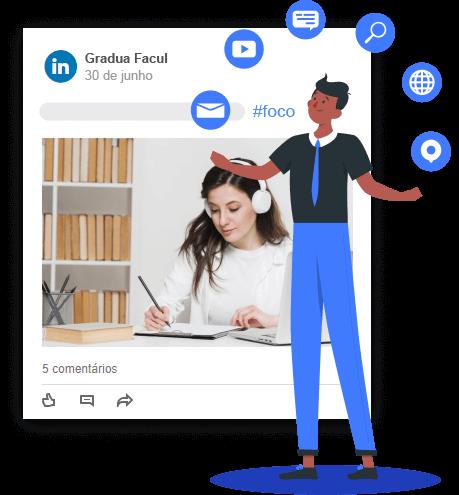 Imagem mostra um post dentro do LinkedIn e, sobre ela, ilustração de um personagem envolto de ícones como lupa de busca, vídeo, texto, etc.
