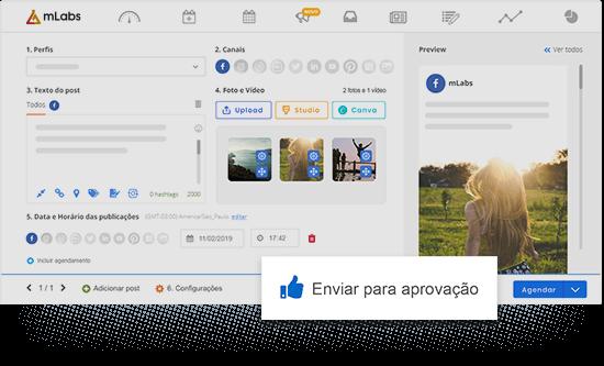 Imagem mostra a tela de agendamento de posts da mLabs com destaque para o botão de enviar para aprovação