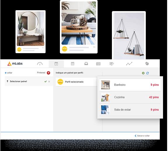 Tela de agendamento de posts da mLabs mostrando o agendamento de pins para pastas específicas do Pinterest