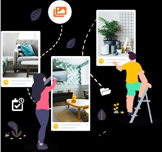 Posts do Pinterest com ilustrações e ícones que representam as funções da mLabs para Pinterest: agendamento de pins em pastas e calendário
